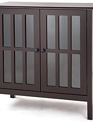 Недорогие -буфет из коричневого дерева со стеклянными панелями