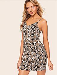 Недорогие -Жен. Классический Оболочка Платье - Леопард, С принтом Выше колена