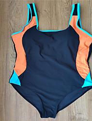 abordables -Mujer Básico Naranja Amarillo Bleu Ciel Halter Slips Una Pieza Bañadores - Bloques Espalda al Aire XXL XXXL Naranja