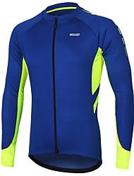Недорогие -Arsuxeo Муж. Длинный рукав Велокофты Темно-серый Синий Серый Сплошной цвет Велоспорт Джерси Со светоотражающими полосками Задний карман Виды спорта Полиэстер Горные велосипеды Шоссейные велосипеды