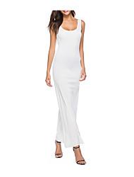 Недорогие -Жен. Большие размеры Классический Тонкие Оболочка Платье - Однотонный U-образный вырез Макси Белый