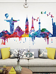cheap -World Architecture Landscape Wall Stickers - Words &amp Quotes Wall Stickers Characters Study Room / Office / Dining Room / Kitchen