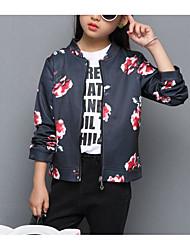 abordables -Enfants Fille Basique Sophistiqué Géométrique Imprimé Normal Coton Polyester Spandex Veste & Manteau Rose Claire