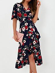 Недорогие -Жен. Тонкие Оболочка Платье Цветочный Шифон V-образный вырез До колена