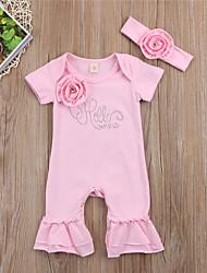 Недорогие -малыш Девочки Активный / Классический С принтом Короткие рукава 1 предмет Розовый