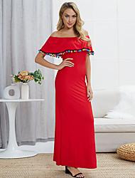 Недорогие -Жен. Богемный Элегантный стиль Оболочка Платье - Однотонный Макси