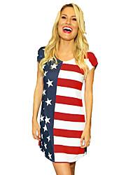 Недорогие -Взрослые Жен. Косплей Американский флаг Платья Косплэй Kостюмы Назначение Halloween На каждый день Спандекс Полиэстер День независимости Платье