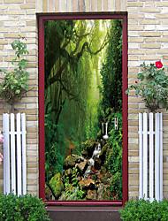 Недорогие -красота мечта джунгли туман наклейки на двери декоративные водонепроницаемые наклейки на двери декор