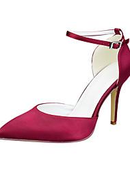 cheap -Women's Wedding Shoes Stiletto Heel Pointed Toe Satin Minimalism Fall & Winter Dark Red / Light Green / Blue