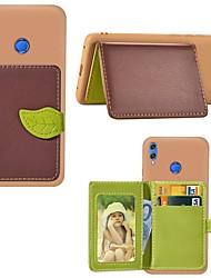 رخيصةأون -غطاء من أجل Huawei Huawei Honor 8X Max / الشرف V20 حامل البطاقات / ضد الصدمات / مع حامل غطاء خلفي منظر / شجرة قاسي جلد PU إلى شرف 10 لايت / الشرف V20 / الشرف 10i