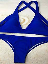 abordables -Mujer Básico Azul Piscina Halter Tanga Tankini Bañadores - Un Color Espalda al Aire S M L Azul Piscina