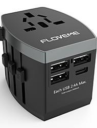 Недорогие -floveme быстрая быстрая зарядка 4 порта usb все в одном сетевом адаптере поддержка по всему миру адаптер телефона / стола и других устройств (черный)