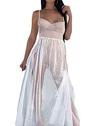 abordables -Mujer Sofisticado Corte Swing Vestido - Malla, A Lunares Maxi