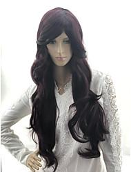 Недорогие -Человеческие волосы без парики Натуральные волосы Естественные волны / Loose Curl Стрижка каскад / Ассиметричная стрижка / Средняя часть Стиль Женский / Горячая распродажа / вьющийся Фиолетовый / Да