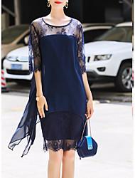 Недорогие -Жен. Большие размеры Уличный стиль Оболочка Платье - Геометрический принт, Кружева Шифон До колена