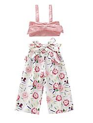 Недорогие -малыш Девочки Активный / Классический Цветочный принт Бант Без рукавов Короткий Набор одежды Розовый