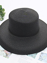 Недорогие -Жен. Для вечеринки Классический Соломенная шляпа Солома,Однотонный Все сезоны Розовый Бежевый Хаки