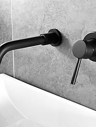 Недорогие -Ванная раковина кран - Широко распространенный черный Монтаж на стену Одной ручкой Два отверстияBath Taps