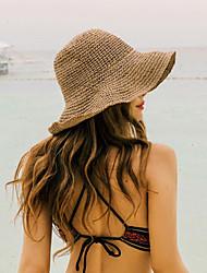 Недорогие -Жен. Классический Соломенная шляпа Шляпа от солнца Солома,Однотонный Лето Бежевый Хаки