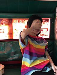 preiswerte -Damen Gestreift - Grundlegend T-shirt Patchwork Regenbogen US14