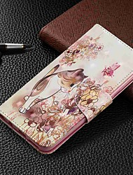 baratos -Capinha Para Samsung Galaxy Galaxy A50(2019) / Samsung Galaxy A70 (2019) Carteira / Porta-Cartão / Com Suporte Capa Proteção Completa Gato Rígida PU Leather para Galaxy A7(2018) / Galáxia A10 (2019