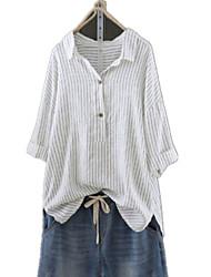 preiswerte -Damen Gestreift Hemd Weiß US10