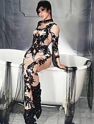 Недорогие -Экзотическая танцевальная одежда Боди со стразами / Комбинезоны для ночного клуба Жен. Выступление Спандекс Узоры / принт Длинный рукав трико / Комбинезон-пижама