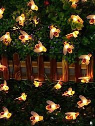 Недорогие -6 м 30 светодиодов солнечная медоносная пчела гирлянда теплый белый водонепроницаемый / день благодарения рождество хэллоуин украшения на солнечной энергии 1 комплект