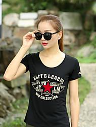 baratos -Mulheres Camiseta Sólido Preto US8