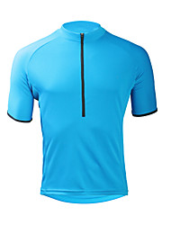 Недорогие -ILPALADINO Муж. С короткими рукавами Велокофты Небесно-голубой Сплошной цвет Велоспорт Джерси Верхняя часть Устойчивость к УФ Влагоотводящие Быстровысыхающий Виды спорта Эластан Терилен