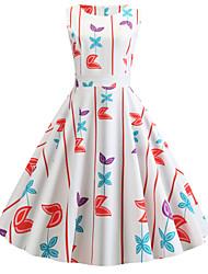 cheap -Women's Vintage Street chic Chiffon Dress - Floral Print Red Blushing Pink Yellow L XL XXL