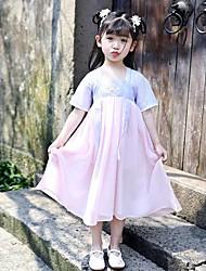 olcso -Gyermek táncruhák Hanfu Lány Teljesítmény POLY Hímzés / Kombinált Féhosszú Ruha