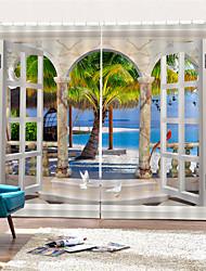 Недорогие -3d цифровая печать природа вдохновила уединение две панели полиэфирные шторы для наружной / гостиной водонепроницаемые пылезащитные декоративные высококачественные шторы