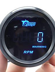 Недорогие -автомобильный тахометр 2 52 мм 0-9999 об / мин автоматический датчик тахометра с синим светодиодом 12 В мотоцикл цифровой тахометр датчик