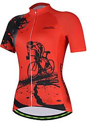 Недорогие -21Grams Шестерня Жен. С короткими рукавами Велокофты - Красный Розовый Велоспорт Джерси Верхняя часть Дышащий Влагоотводящие Быстровысыхающий Виды спорта Терилен Горные велосипеды Одежда