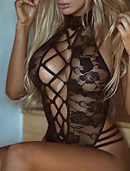 Недорогие -Жен. Кружева Супер секси Белье с поясом для чулок Ночное белье Однотонный Черный Один размер