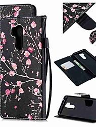 Недорогие -Кейс для Назначение LG LG Q Stylus / LG StyLo 3 / LG Stylo 4 Кошелек / Бумажник для карт / Защита от удара Чехол Цветы Кожа PU