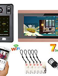 Недорогие -7-дюймовый проводной Wi-Fi отпечатков пальцев ic-карта видео-телефон двери дверной звонок домофон с системой контроля доступа дверидистанционная запись разблокировки приложения