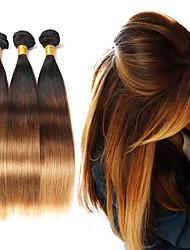 Недорогие -3 Связки Бразильские волосы Прямой Натуральные волосы Омбре 10-26 дюймовый Омбре Ткет человеческих волос Расширения человеческих волос / 8A / Прямой силуэт