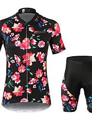 Недорогие -21Grams Цветочные ботанический Жен. С короткими рукавами Велокофты и велошорты - Черный Велоспорт Наборы одежды Дышащий Влагоотводящие Быстровысыхающий Виды спорта 100% полиэстер / Слабоэластичная