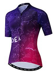 hesapli -JPOJPO Kadın's Kısa Kollu Bisiklet Forması Menekşe Bisiklet Tracksuit Forma Üstler Nefes Alabilir Spor Dalları Polyester Elastane Terylene Dağ Bisikletçiliği Yol Bisikletçiliği Giyim / Mikro-Esnek