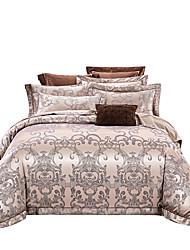 Недорогие -Серый золотой 250-тый роскошный премиум-отель Жаккард из чистого хлопка сантан из четырех частей постельного белья