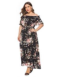 Недорогие -женское платье boho a line - черный шнурок с цветочным рисунком xxxl xxxxl xxxxxl