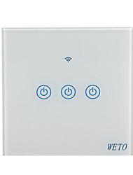 Недорогие -weto w-t13 ес / сша / cn 3 банды wifi умный настенный выключатель сенсорный выключатель умный дом пульт дистанционного управления работает с alexa google home через смартфон