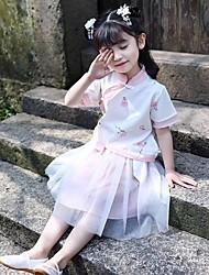 olcso -Gyermek táncruhák Hanfu Lány Teljesítmény POLY Hímzés Rövid ujjú Természetes Szoknyák / Felső
