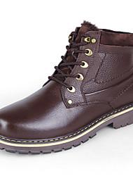 Недорогие -Муж. Кожаные ботинки Наппа Leather Зима Классика / На каждый день Ботинки Для прогулок Сохраняет тепло Ботинки Черный / Темно-русый / Темно-коричневый / на открытом воздухе / Офис и карьера