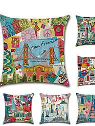 Недорогие -1 штук Лён Наволочка, Графика / живопись Современный стиль Классика европейский Бросить подушку