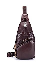 Недорогие -(bullcaptain) мужская молния коровьей слинг сумка сплошной цвет черный / желтый / кофе / осень&зима