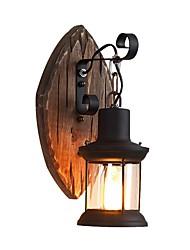 Недорогие -ретро деревенский настенный светильник деревянный настенный светильник металлическая осветительная конструкция прозрачный стеклянный фонарь декадная тень 1-светодиодный настенный бра