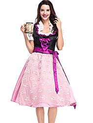 Недорогие -Октоберфест Широкая юбка в сборку Trachtenkleider Жен. Платье баварский Костюм Розовый